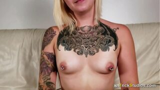 Nervous tattoed girl Ami fucks on first casting